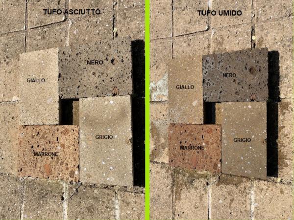 Differenza colorazione tufo asciutto e umido